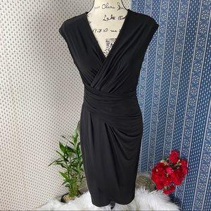 Donna Karan Bodycon Asymmetrical Hem Black Dress